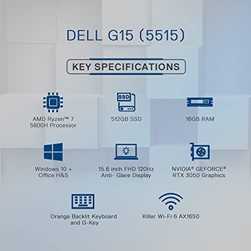 Dell 15 (2021) Ryzen 7-5800H Gaming Laptop, 16GB, 512GB SSD, Win 10 + MS Office, NVIDIA RTX 3050 Ti 4GB, 15.6