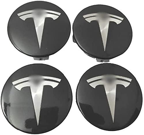 FREEJEVI 4 Piezas 58mm Coche Tapas Centrales De Llantas, para Tesla Modello S X 3, con Logo De Coche Centrales, De Rueda Resistente Al Agua Y Al Polvo, Tapas De Cubo Dedecorativa Accesorios De Estilo