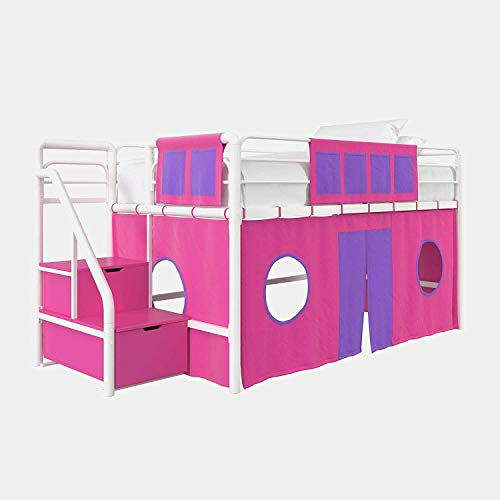Manoch Girls Twin Jr Loft Bed Curtain Pink Purple Fort Tent Play Area Fantasy Fun Childrens Bedroom 100% Polyester Bunk Configuration: Curtain Set Overall: 40'' H x 30'' W x 77'' D Weight: 2 lbs.