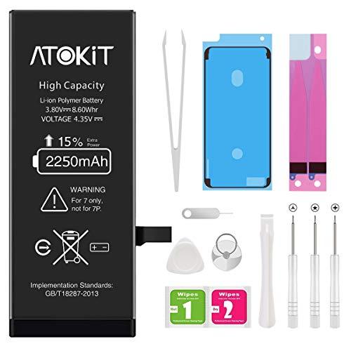 Atokit Akku für iPhone 7 2250mAh, hohe Kapazität mit 15% mehr Polymer-Lithium-Batterie, Ersatz Austausch mit Werkzeug Set, Screen Adhesive, Klebeband