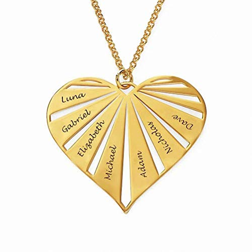 Personalisierte Herzkette Gravur mit 1 bis 8 Kindername 925 Sterling Silber Mütter Namenskette Familienkette mit Wunschnamen für Oma, Custom mit 1/2/3/4/5/6/7/8 Namen