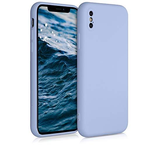 kwmobile Cover Compatibile con Apple iPhone XS - Custodia in Silicone Effetto Gommato - Cover Back Case Protezione Cellulare - Blu Chiaro Matt