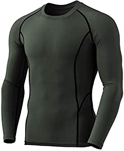 TSLA Men's Thermal Wintergear Compression Baselayer Long Sleeve Top, Thermal Athletic(yud34) - Black, Large by Tesla Gears