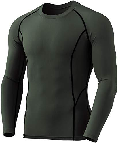 TSLA Yud54 - Ropa interior térmica de compresión para hombre, manga larga, con forro polar, talla L, color verde oliva