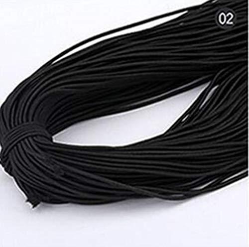 Hoge kwaliteit elastische band 14m * 2 mm kleurrijk rond elastisch verband rond elastisch touw elastiekjes lijn DIY naai-accessoires, zwart, 2 mm