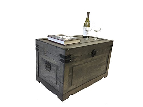Newport Medium Wood Storage Trunk Wooden Treasure Chest - Gray
