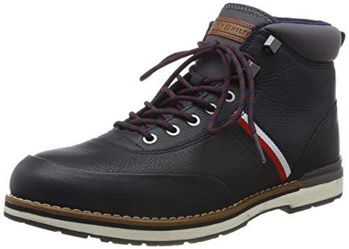 Tommy Hilfiger Herren Outdoor Corporate Leather Boot Klassische Stiefel, Blau (Midnight Cki), 44 EU