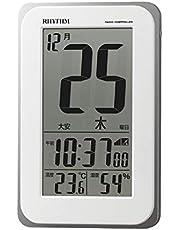 リズム(RHYTHM) 電波時計 目覚まし時計 電子音アラーム 温度 湿度 日めくり カレンダー 六曜 ライト付き 8RZ139SR03 12.8x8.2x2.3cm 白