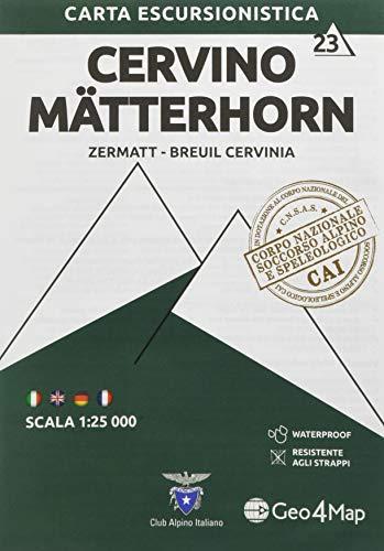 Carta escursionistica Cervino-Matterhorn (Zermatt, Cervinia): Zermatt - Breuil Cervinia / Waterproof / Resistente: 23