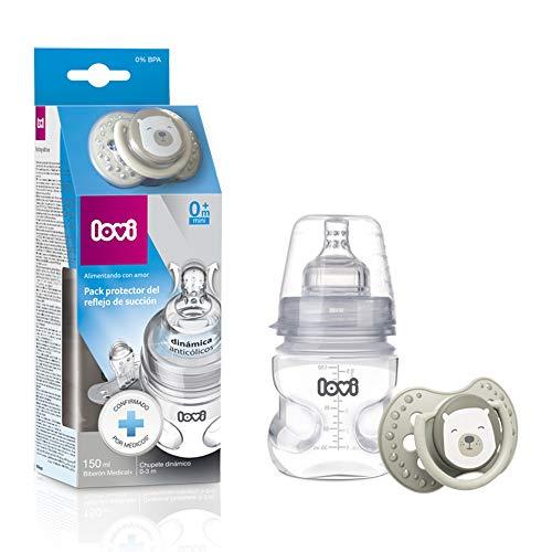 LOVI Pack protector del reflejo de succión LOVI: biberón 150ml y chupete dinámico 0-3m, Biberón Y Chupete, Multicolor, 150ml