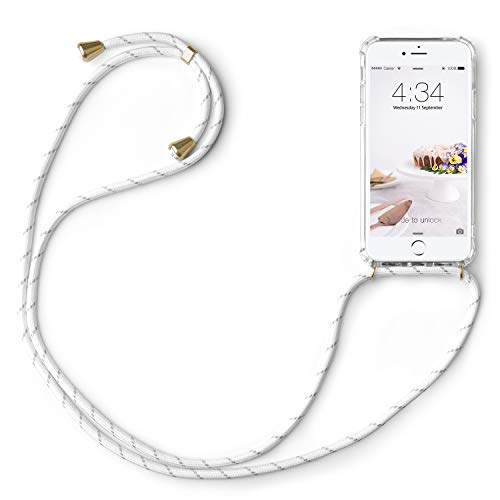 abitku Funda con Cuerda para Apple iPhone 7/8 4.7''- Carcasa Transparente de TPU PC con Colgante en Transparente Blanco