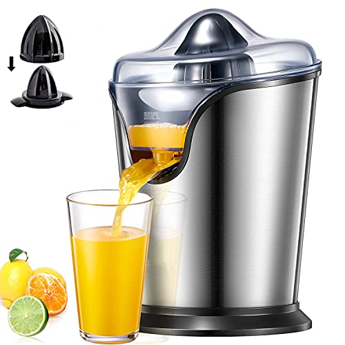 Orange Juicer Electric, Citrus Juicer Squeezer with Two Interchangeable Cones Suitable for All Size of Citrus Fruits, Anti-drip Spout and Ultra Quiet Motor, BPA Free, Brushed Stainless Steel