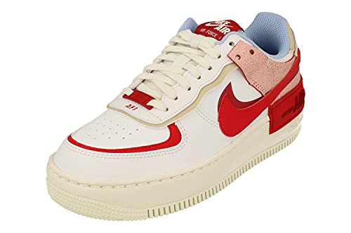 Nike Donne Air Force 1 Shadow AF1 Trainers CI0919 Sneakers Scarpe (UK 4.5 US 7 EU 38, Summit White University Red 108)