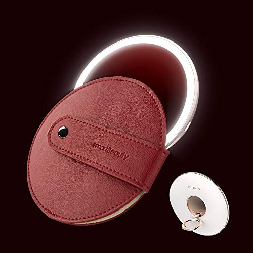 TOUCHBeauty Compact Travel Makeup Mirror Smart Sensor Lights, Upgrade Metal Material, 1x Magnification, 4' Round Portable Pocket Hand Cosmetic Mirrors USB Rechargeable, Ideal for Gift