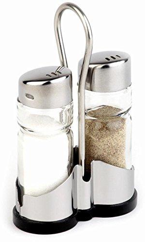 APS 40455 ECONOMIC Salz und Pfeffer Menage mit Edelstahlrahmen, Glas Streuer mit Edelstahl-Abdeckung, 8 x 4 x 13 cm