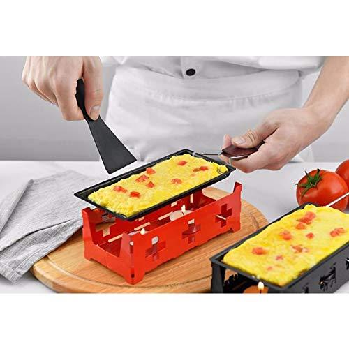Leoie Mini anti-aanbakplaat met handvat of kaars voor kaas maken gereedschap houten handvat rood pak (rode kookplaat + bakpan + kleine spatel)