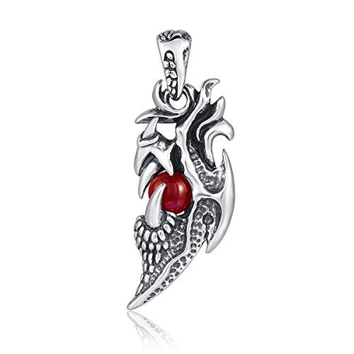 DonDon Ciondolo a forma di drago da uomo, in acciaio inox, con pietra rossa confezionata in un sacchetto di velluto nero