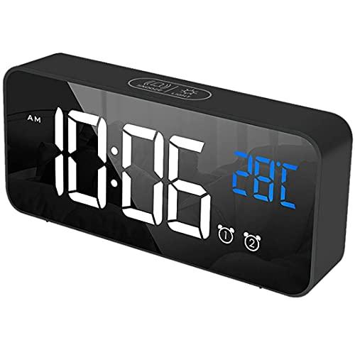 NK Sveglia Digitale da Comodino - Doppio allarme, Radiosveglia, Indicazione della Temperatura, 12 24 Ore, Luminosità Regolabile, Snooze Time, Porta di ricarica USB, Batteria integrata