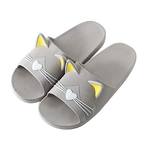 Minetom Unisex Badeschuhe Flip Flop Zehentrenner rutschfest Pantoffeln Sandalen Badezimmer Flache Süße Katze Strand Home Slippers für Herren Damen Grau 39/40 EU