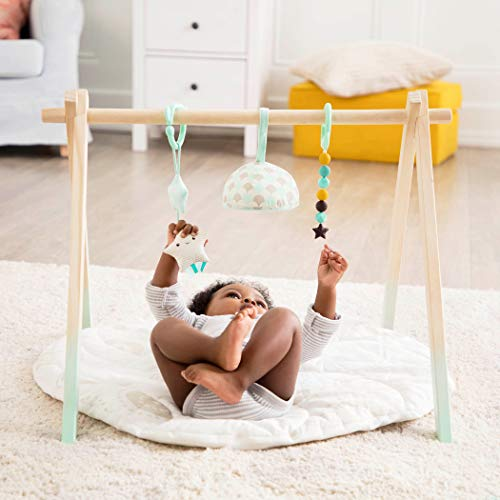 B. toys – Wooden Baby Play Gym – Activity Mat – Starry Sky – 3 Hanging Sensory Toys – Organic Cotton – Natural Wood – Babies, Infants