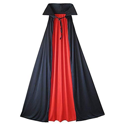 CUSFULL Capa Disfraz de Vampiro Negra Roja Halloween sin Capucha Talla para Niño y Adulto Abrigo Reversible Capa Larga Gótico (122cm)