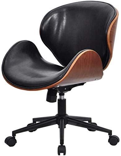 Shop Adjustable Modern Accent Swivel Chair Mid Back Task Chair Solid Wood Leather Office Office Chair Computer Desk Chair Retro with Armless