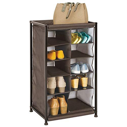 mDesign Soft Fabric Shoe Rack Holder Organizer - 10 Cube Storage Shelf for Closet Entryway Mudroom Garage Kids Playroom - Metal Frame Easy Assembly - Closet Organization - Espresso Brown