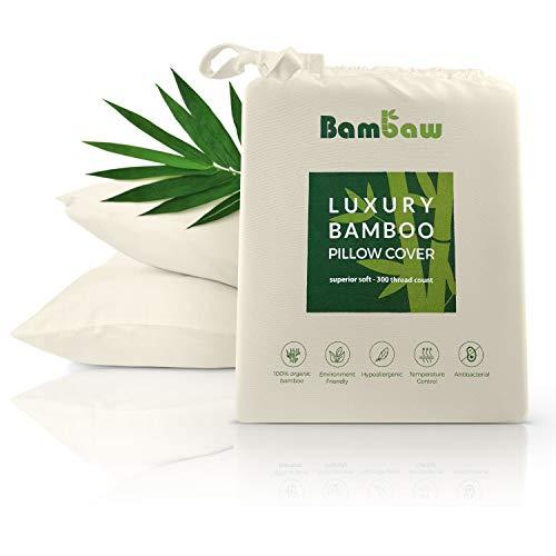 Bambaw Bambus Kissenbezüge | Pillow Cover | Bambus Kissen Bezüge | Temperaturregulierend | Anti Allergie Kissenbezug | Atmungsaktiver Stoff | Elfenbein | 40x80