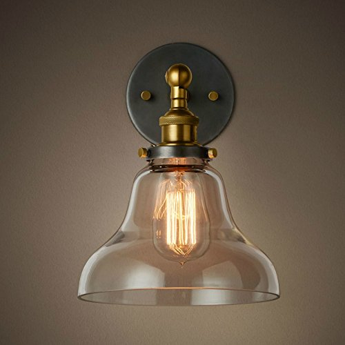 PureLume Vintage Antique Copper Wave WallCeiling Light with Glass Dome Brass and Edison 40 W Light Bulb