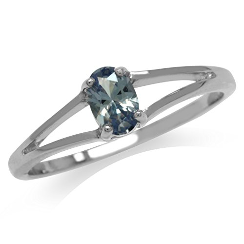 Silvershake Simulated Color Change Alexandrite White Gold Plated 925 Sterling Silver Solitaire Ring Size 7