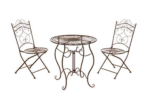 CLP Mobilier de Jardin en Métal Indra dans Un Style nostalgique, diamètre de la Table: 70 cm, Couleurs:Antique Marron
