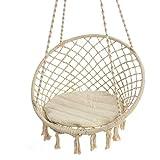 Pureday Hängesessel Nizza - mit rundem Sitzkissen - Outdoorgeeignet - Sitzfläche ca. Ø 55 cm - Belastbarkeit max. 100 kg - Beige