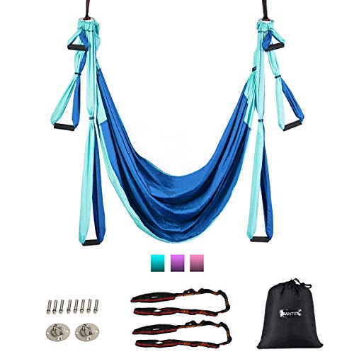 Goplus Aerial Yoga Swing Set, Antigravity Ceiling Hanging Toga Sling with Three Different Lengths of Handle, Yoga Swing/Sling/Inversion Tool, Yoga Hammock (Blue)
