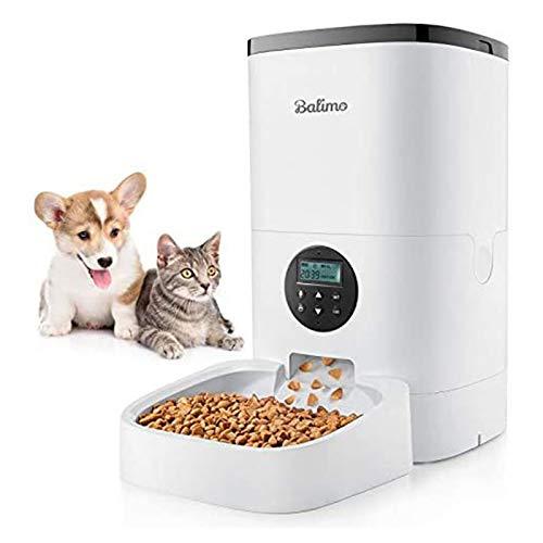 Nunca te rindas Comedero Automatico De 6L para Gatos Y Perros, Comedero Automatico para Gatos con Temporizador, Funcion De Grabacion De Sonido Y Diseno Antibloqueo 1-4 Comidas Al Dia(Color:UN)