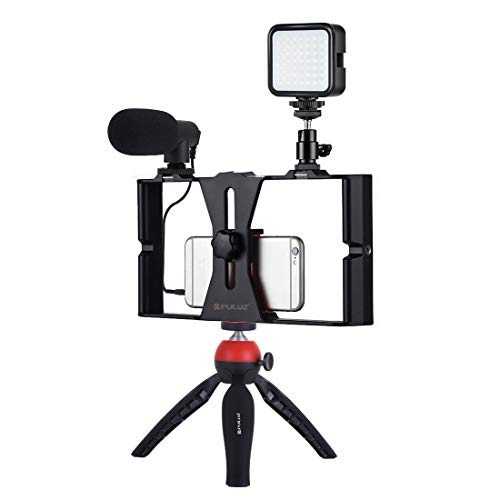 PULUZ Smartphone Video Rig Kit Filmmaking Video Case with Tripod,49 LED Light,Microphone for Mobile...