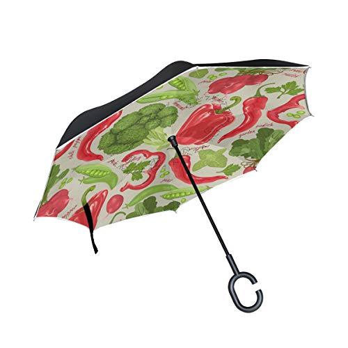 MALPLENA Gemüse-Brokkoli-Pfeffer Auto Regenschirm auf den Kopf Reverse Inverted Umbrellas für Frauen/Männer/Auto/Regen im Freien wasserdicht Winddicht