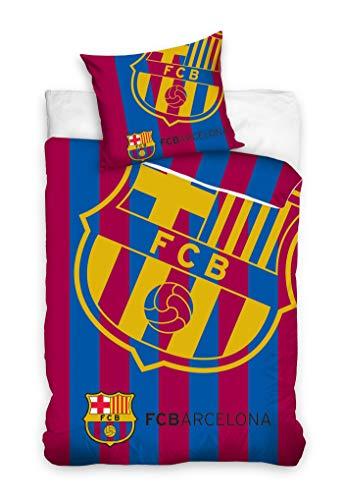 FC Barcelona - Juego de cama (135 x 200 cm y 80 x 80 cm, 100% algodón)