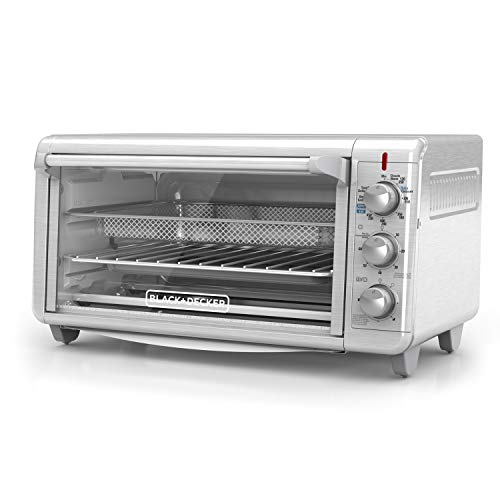 Black+Decker TO3265XSSD Extra Wide Crisp 'N Bake Air Fry Toaster Oven, Silver, Fits 9' x 13' Pan