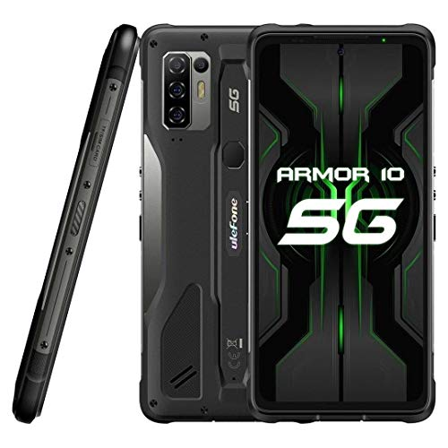 5G Outdoor Smartphone ohne Vertrag Ulefone Armor 10 【2021】, 8GB RAM 128 GB ROM 2TB Externe SD, 64MP Quad AI-Kamera, Android 10 IP68 Robust Handy, 6,67 '' FHD +, Kabelloses Aufladen NFC HiFi DUAL-SIM