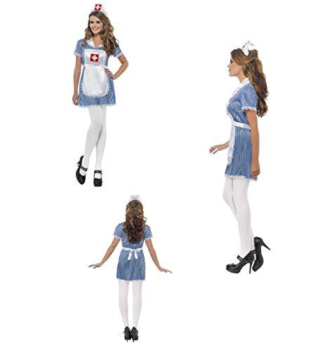 Adult Naughty Nurse Sexy Uniform Fancy Dress Costume, Blue, with Dress, Apron & Hat Matron Carry On Hen Do Festival Carnival Fun Run Party Fun 24477 (UK Dress 12-14 (M))