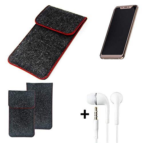 K-S-Trade Handy Schutz Hülle Für Doogee V Schutzhülle Handyhülle Filztasche Pouch Tasche Hülle Sleeve Filzhülle Dunkelgrau Roter Rand + Kopfhörer