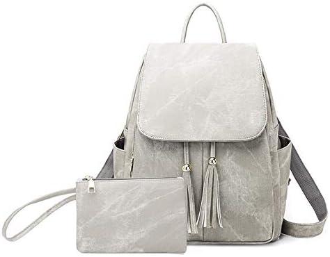 JMXAFMY Fashion Woman Backpacks Lady's Leather Backpacks Female Women Shoulder Bags for Teenage Girls Travel Back Tassel (Color : Gray, Size : 35cmx28cmx20cm)
