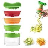 nuoshen Spiralizer, Vegetable Spiralizer 3-Blade Handheld Vegetable Chopper Slicer Cutter Hand Spiralizer for Vegetables