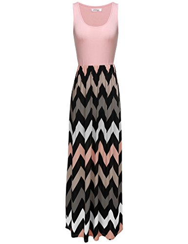 Sherosa Women's Casual Sleeveless Elastic Striped Maxi Cocktail Party Dress (XL, Pink)