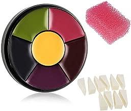 CCbeauty 6 Color Bruise Wheel Halloween Face Body Paint with 10pcs Sponge Wedges,Pink Stipple Sponge Special Effect Makeup