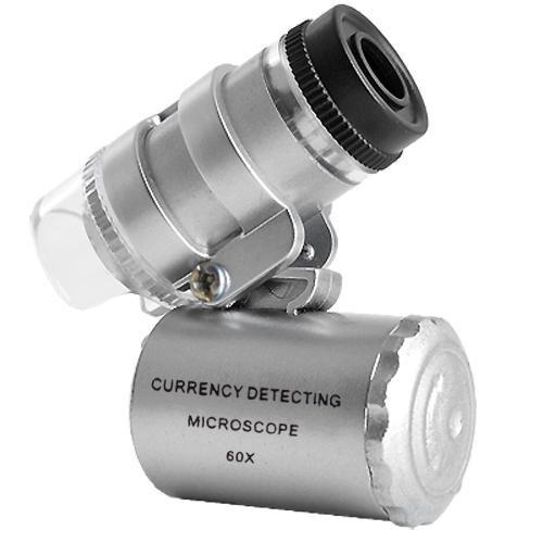 Microscopio LED Mini 60X joyería Lupa Iluminada Lentes Aumentos Luz UV A Pilas Monóculo (Productos de oficina)