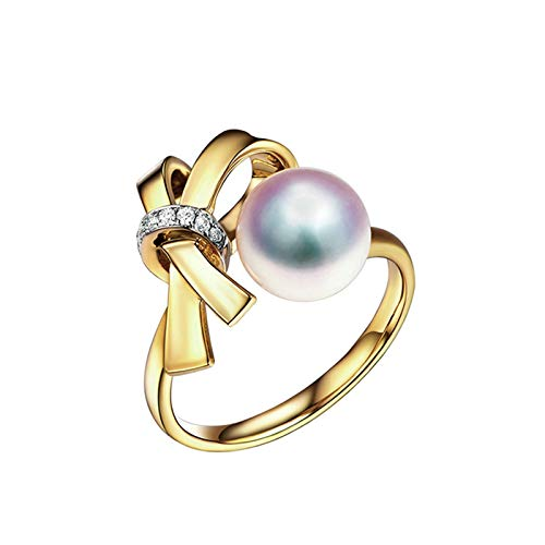 AmDxD Wedding Bands 18 Yellow Gold, Knot with 8MM Akoya Pearl Women Ring Accessories Promise Ring Band for Her Size M 1/2, Birthday Gifts for Girlfriend Women