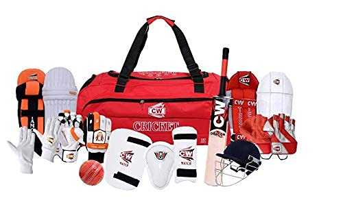CW CHAMPIONSHIP - Juego de cascos de bate de cuero con bola de críquet, juego completo de bateadores para bañistas ⭐