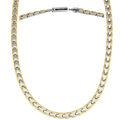 MagnetRX® Titanium Magnetic Therapy Necklace - Natural Pain Relief for Neck Arthritis, Back, Shoulder Pain, Headache and Migraine Relief Magnetic Necklace (Silver & Gold, 21.5 Inches)