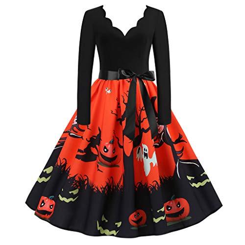 Kanpola Halloween Kleid Damen Sexy V-Ausschnitt Kleider Dress Rock Fliege Langarm Maxikleid Abendkleid Party Fiesta Verkleidung Winter Schlanke Kleidung Kostüm
